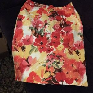 FLOWER PRINT SKIRT—SIZE IO—PINK,RED,YELLOW $ 22